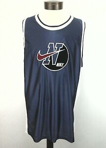 ddb6a835a05787 NIKE Tank Top Jersey Basketball Blue White-Red SWOOSH Vintage Mens ...