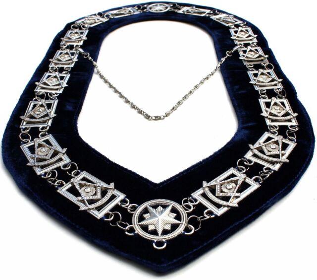 Masonic Past Master Silver Chain Collar Masonic Regalia c Masonic Chain Collar