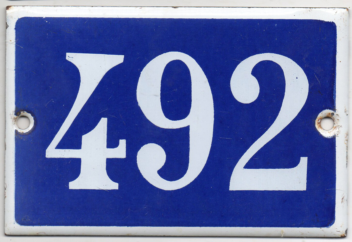 Old Blau French house number 492 door gate plate plaque enamel steel metal sign