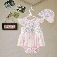 US 2pcs Girl infant Baby Newborn Cap Hat+Romper Bodysuit Tutu Clothes Set 12M
