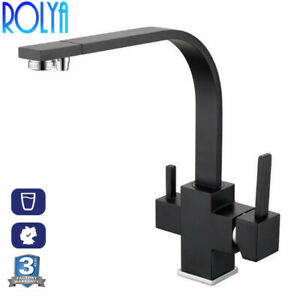 Details about Rolya Tri Flow Kitchen Faucet Alba Black 3 Way Water Filter  Tap Sink Mixer