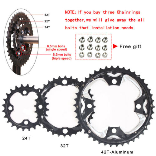 US 10Speed Double//Triple Chainring MTB Bike 24//26//32//38//42T 104//64BCDmm Crankset