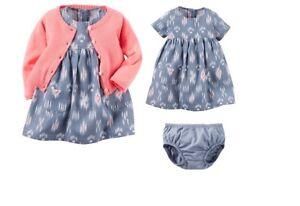 7419cfd6 Carters Baby Girl 6 months 3 Piece Dress Cardigan Sweater Diaper ...