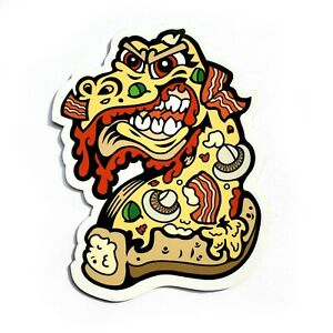 Pizza Monster Magnet Refrigerator and Car Bumper Horror Scary Bacon Crust Pie