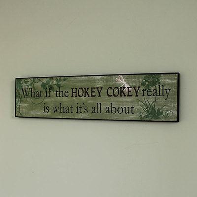 Hokey Cokey wooden wall plaque shabby vintage chic humour novelty hallway gift