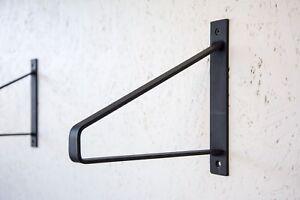 Details about PAIR of Black Steel Brackets - Metal Shelf Supports - Steel  Brackets - Shelving