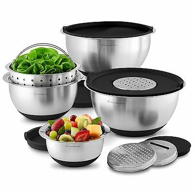 Wolfgang Puck Stainless-Steel Mixing Bowls with Lids, 12-Piece Set ( black Color