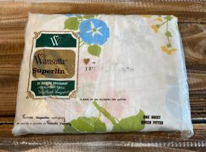 Vintage Wamsutta Superlin Irregulars Floral Queen Fitted Sheet New Unopened