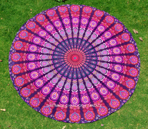 Indian Round Mandala Tapestry Bed Throw Yoga Mat Wall Tapestries Beach Throw
