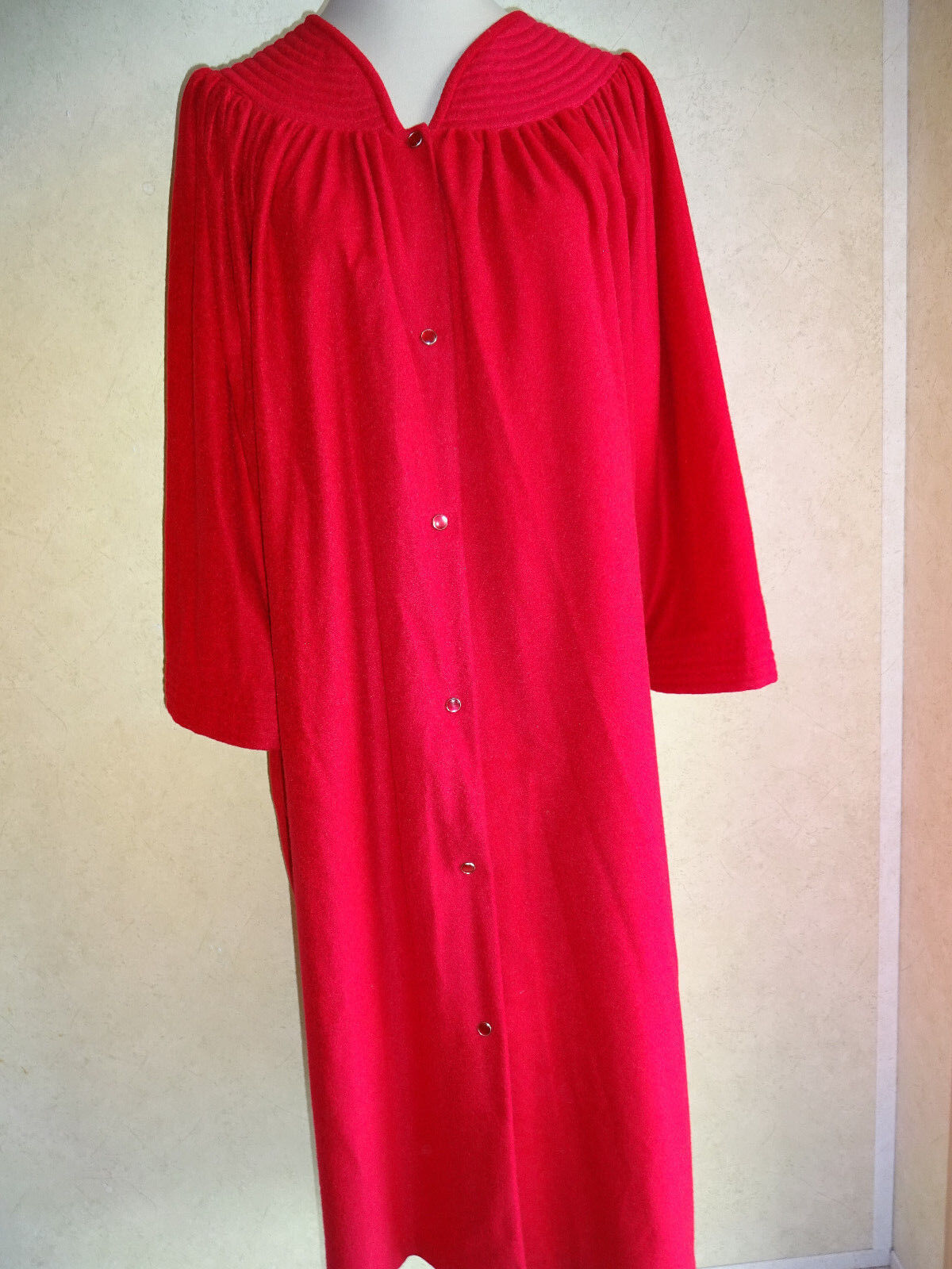 Womens Vintage Red Robe Sears At Home Wear 3XL 46 48 Winter Fall USA