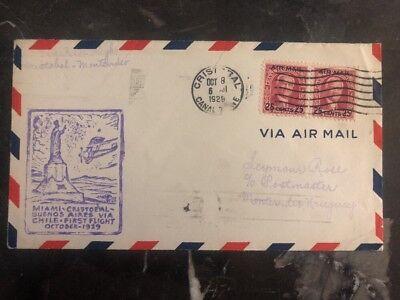 Panama StoßFest Und Antimagnetisch Ehrgeizig 1929 Cristobal Kanal Zone First Flight Abdeckung Ffc Zu Montevideo Uruguay Wasserdicht Briefmarken