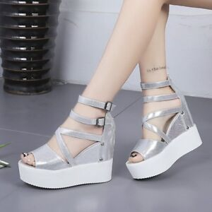 Details about Womens Casual Wedge High Heels Cross Zip Sandals Ankle Buckle Open Toe Shoes