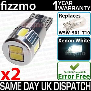 2x-6-SMD-LED-w5w-t10-501-WHITE-CANBUS-ERROR-FREE-ALUMINIUM-BODY-9-30v-BULBS