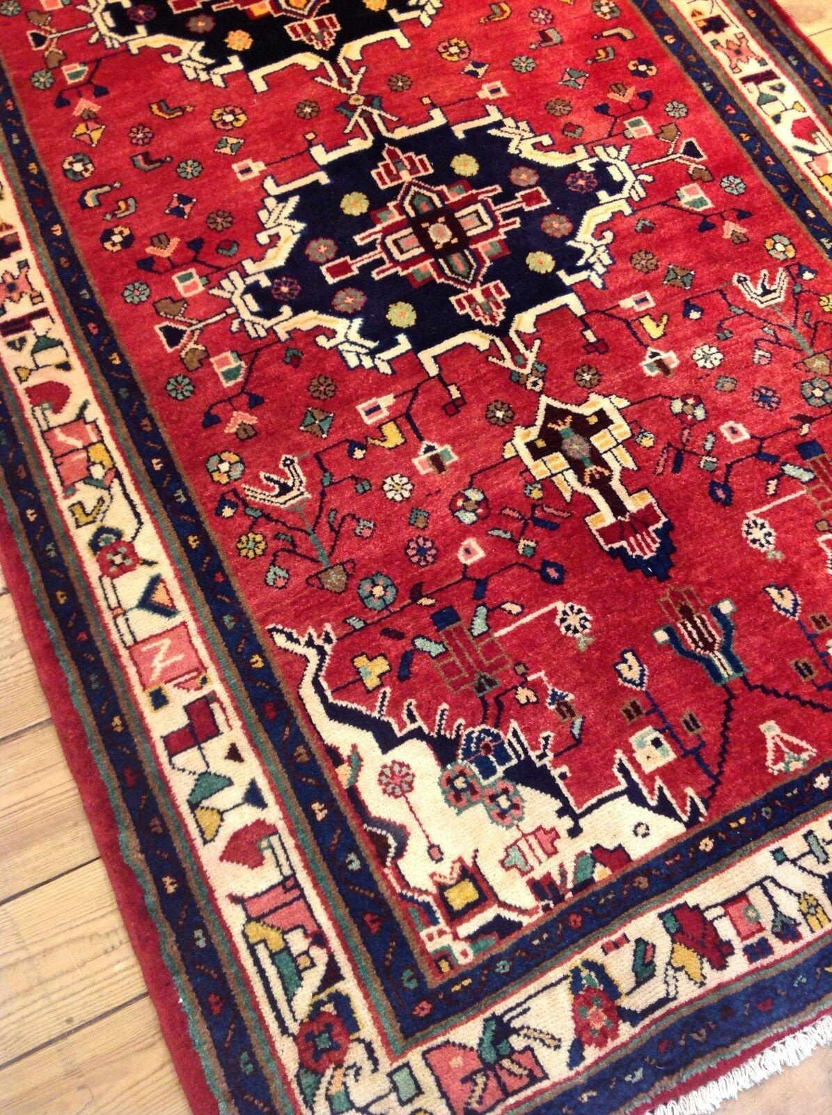 Precioso alfombra persa alfombras orientales alfil (285 x 128 cm) Top nuevo