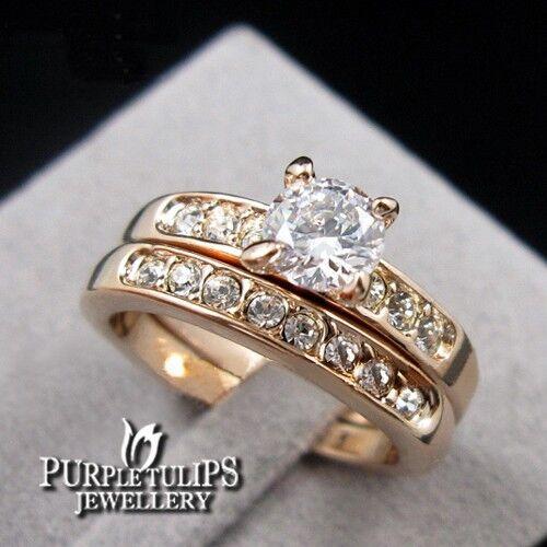 18K Rose Gold Plated SWAROVSKI Crystals Wedding/Anniversary Eternity Ring Set