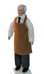 Puppenhaus-Arbeit-Mann-in-Schuerze-1-12-Miniatur-Porzellan-Menschen