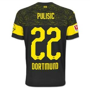 fa25c51031d Image is loading Christian-Pulisic-BORUSSIA-DORTMUND-Black-Away-Soccer- jersey