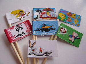 20 cupcake flags/toppers-looney tunes cartoon caractères bugs bunny & ses amis  </span>