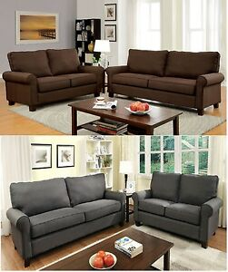 Transitional 2 PC Sofa Loveseat Brown Gray Color Rolled Arms Flax Fabric Plush