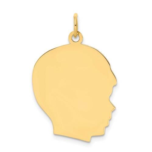 14k Plain Large .009 Gauge Facing Right Engravable Boy Head Charm 29mmx20mm