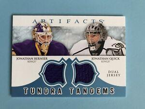 Tundra-Tandems-Quick-and-Bernier-Hockey-Jersey-Card-TT-BQ-2012-13-LA-Kings