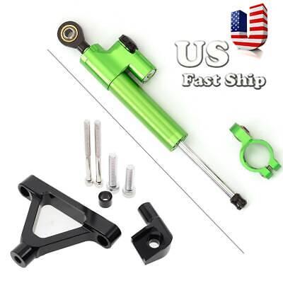 Fit Kawasaki ZX6R 2007-2008 Steering Damper Stabilizer/&Bracket Kit BLK+Green US