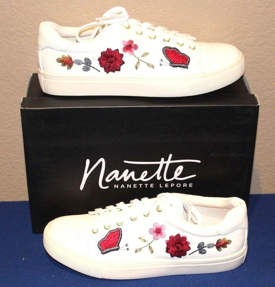 Nanette Lepore blanc Flower Slip On Turnchaussures Embroiderouge Multi Flowers  Taille 9