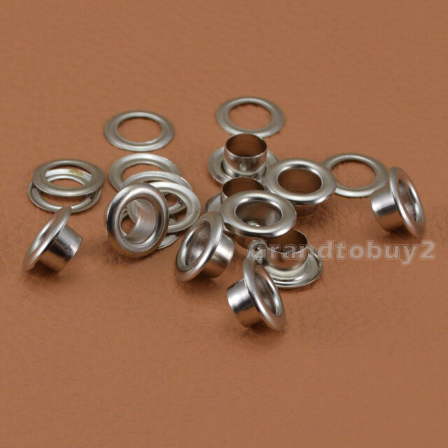 GoodQuality Silver 100 Sets Size 4/5/6/8mm Solid Brass Eyelets w/Washer Grommets
