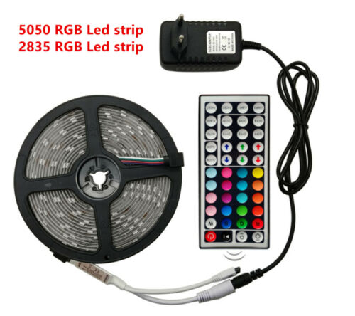 RGB 5050 SMD 2835 LED Strip Light Flexible Ribbon RGB Stripe 5M 10M 15M tape kit