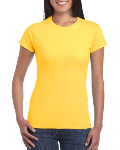 Details about  /Ladies Gildan Soft Feel 100/% Cotton T-Shirt Plain T Shirt Top Womens Female