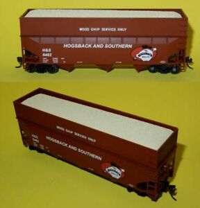 New-HO-Scale-Bowser-Hogsback-amp-Southern-Railroad-Woodchip-Freight-Cars