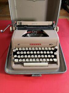 Royal Quiet Deluxe Portable Typewriter Tan Crinkle w/ Case Working Vintage