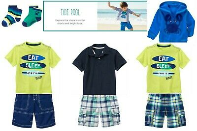 NWT Gymboree Boy Tide Pool White Crab Tee /&Cargo Shorts Outfit Size 12-18 2T 3T
