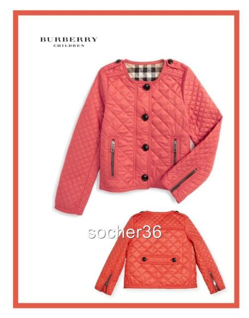 Burberry Girls Nalla Quilted Jacket Coral Red Size 7 Years Ebay