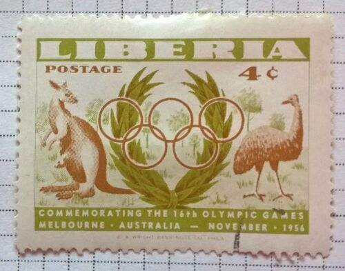 Liberia stamps - Kangaroo and Emu Melbourne Olympics - 1956 4 cents