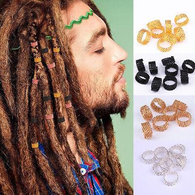 50pcs 1CM Dreadlock Bead Adjustable Women Hair Braid Rings Cuff Clips Tube VH