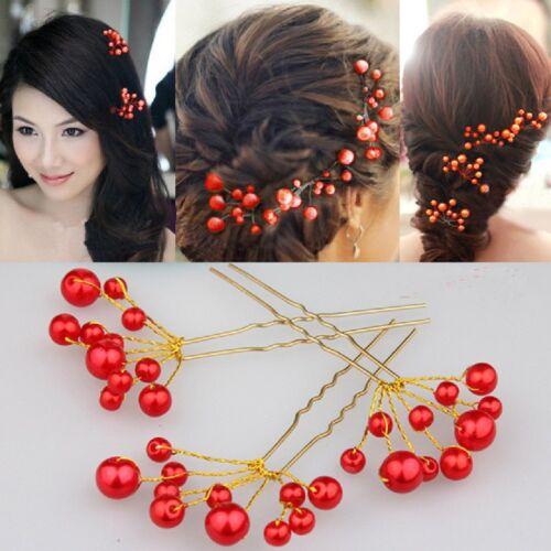 Hair Pins Beads Fecher Wedding Tiara Diadem Bridal Accessories White Ivory Red