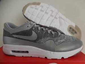 fb0b78ab7eb NIKE AIR MAX 1 ULTRA FLYKNIT WOLF GREY-DARK GREY-WHITE SZ 15  843384 ...