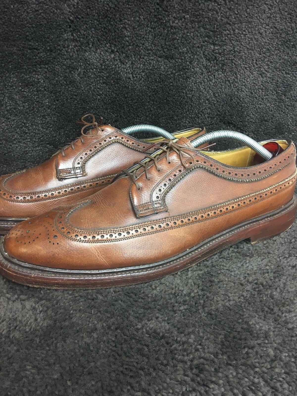 Vintage FLORSHEIM IMPERIAL KENMOOR 93602 Marron Bout D'Aile 5 Nail V Cale Sz 10.5 C 221