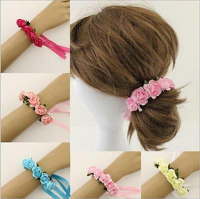 Women Girls Floral Paper Flowers Wristband Bracelets Bridesmaid Headband Holiday
