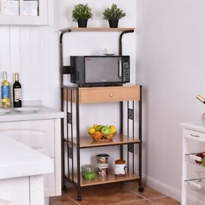 Details About 3 Tier Kitchen Iron Frame Storage Rolling Cart Microwave Oven Stand Mount Outlet