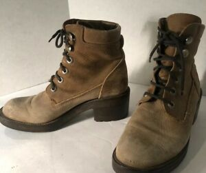 buy good entire collection half off Details about BRONX by Dijkmans Vtg 80s HIGH Chunky HEEL Laced Brown ANKLE  BOOTS Distressed 9