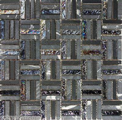 SAMPLE- Black Natural Stone Iridescent Glass Pattern Mosaic Wall Tile Backsplash