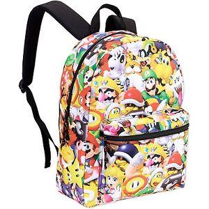 3b22498e5549 Super Mario Bros Comic Backpack School Bag 16 inch All-Over Print ...