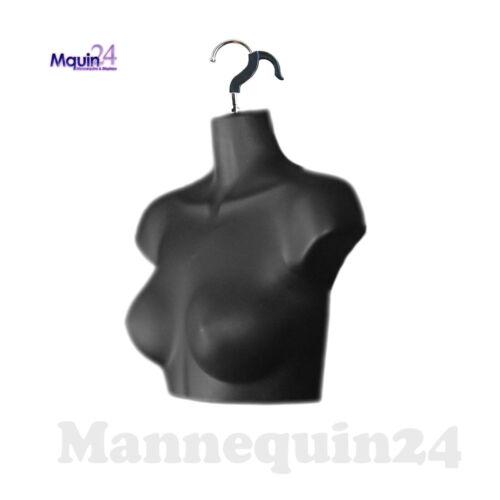 BLACK MANNEQUIN FEMALE CHEST TORSO DRESS FORM with REMOVAL HANGER for HANGING