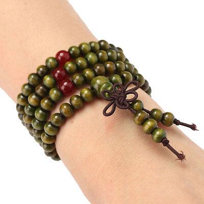 Buddha-Gebet-Korne Mala-Armband-Halskette Tibetanische Sandelholz Buddhisti X8D7