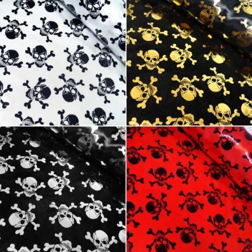100/% Polyester Satin Fabric Foil Skulls /& Crossbones Halloween 150cm Wide