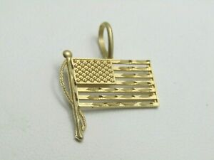 Vintage-14kt-US-Flag-Charm-Pendant-with-Pole-Michael-Anthony-MA-signed-1-034