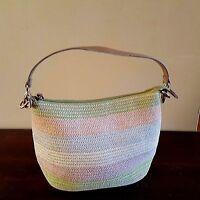 Pastel Striped Medium Size Hobo Purse Woven Knit Handbag Shoulder Bag Cato