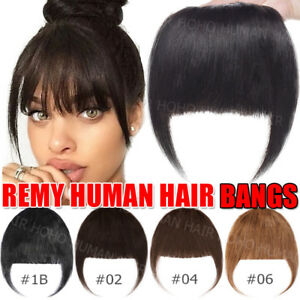 Natural-100-Real-Human-Hair-Bangs-Extensions-Clip-In-Front-Hair-Fringe-Black-US